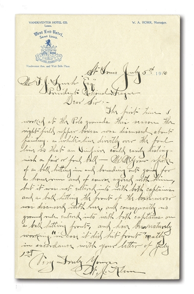 1910 BILL KLEM HANDWRITTEN & SIGNED LETTER TO NL PRESIDENT T.J. LYNCH SUGGESTING WHITE FOUL LINE PAINTED ON BLEACHERS TO CLARIFY HOME RUN CALL (BEFORE FOUL POLE)