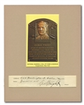 1928 GEORGE WRIGHT CUT SIGNATURE WITH HALL OF FAME PLAQUE DISPLAY