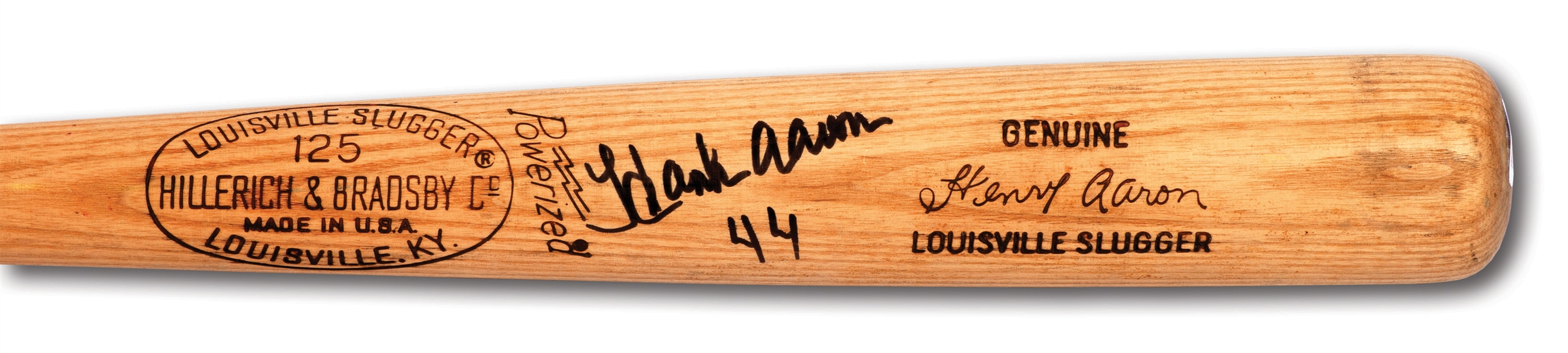 1974-75 HANK AARON AUTOGRAPHED H&B PROFESSIONAL MODEL A99 GAME USED BAT FROM ERA HE HIT #715 TO PASS RUTH (PSA/DNA GU 7)