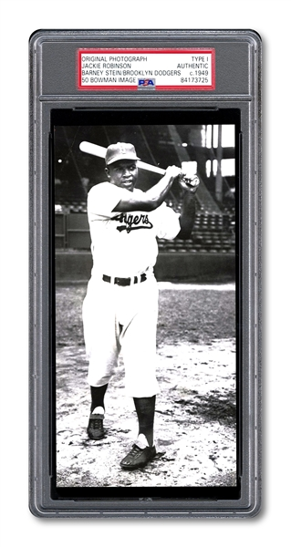 C. 1949 JACKIE ROBINSON ORIGINAL PHOTOGRAPH BY BARNEY STEIN USED FOR 1950 BOWMAN #22 CARD (PSA/DNA TYPE I)