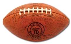 "DEC. 27, 1958 EAST-WEST SHRINE GAME BALL NOTATED AND SIGNED BY 70+ COLLEGE ALL-STARS, COACHES & LEGENDS INCL. BRONKO NAGURSKI AND 2 OF ""THE FOUR HORSEMEN"""