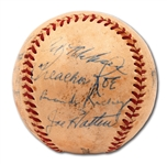 1949 BROOKLYN DODGERS PARTIAL TEAM SIGNED BASEBALL WITH JACKIE ROBINSON AND BRANCH RICKEY
