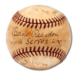 "1939 WORLD SERIES (YANKEES SWEPT REDS) GAME USED ONL (FRICK) BASEBALL AUTOGRAPHED BY UMPIRE ""BEANS"" REARDON WITH STAT NOTATIONS"