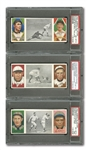 1912 HASSAN TRIPLE FOLDER T202 LOT OF (9) ALL GRADED PSA VG-EX 4 THROUGH EX-MT 6