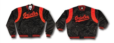 PAIR OF LATE 1970S FRANK ROBINSON (COACH) AND MID-1980S EDDIE MURRAY BALTIMORE ORIOLES GAME WORN WARM-UP JACKETS