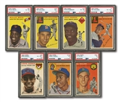 1954 TOPPS BASEBALL NEAR COMPLETE SET (249/250) WITH 7 PSA GRADED INCL. AARON & BANKS ROOKIES - ONLY MISSING #239 SKOWRON