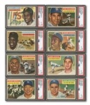 1956 TOPPS BASEBALL COMPLETE SET OF 340 (PLUS BOTH CHECKLISTS) WITH 8 PSA GRADED NOTABLES