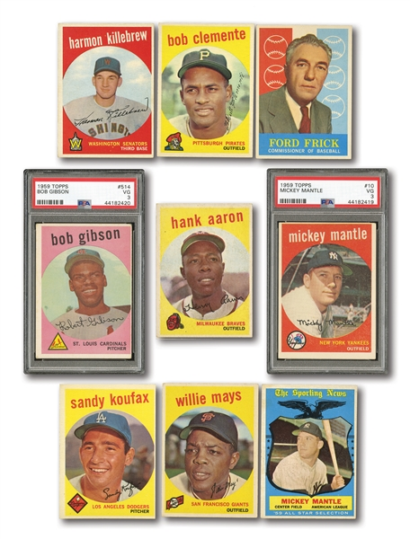 1959 TOPPS BASEBALL COMPLETE SET OF (572) WITH PSA GRADED #10 MANTLE AND #514 GIBSON ROOKIE
