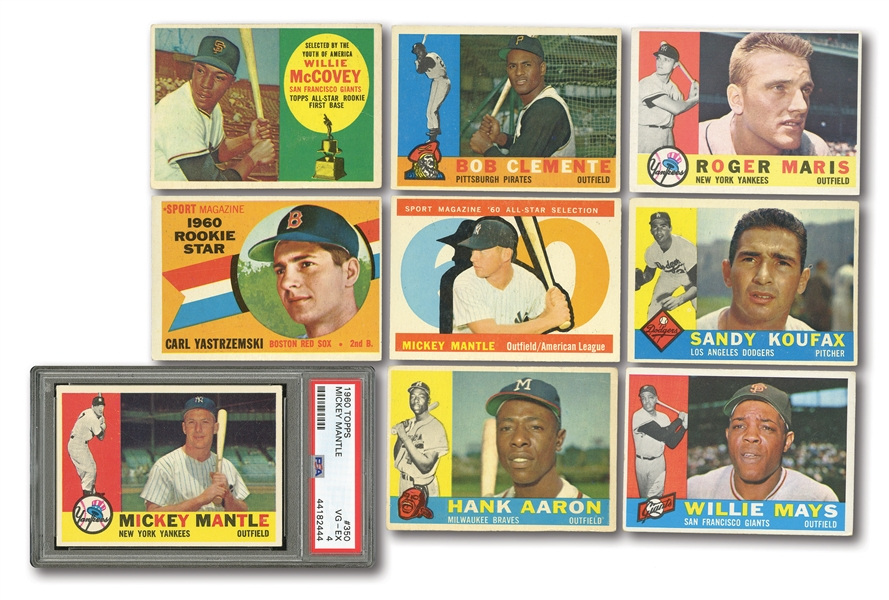 1960 TOPPS BASEBALL COMPLETE SET OF (572) WITH PSA GRADED #350 MANTLE