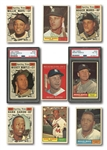 1961 TOPPS BASEBALL COMPLETE SET OF (587) WITH TWO PSA GRADED MANTLES (#300 AND #578 ALL-STAR)