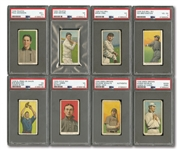 1909-11 T206 WHITE BORDER LOT OF (14) PSA GRADED COMMONS - TEN WITH RARE BACKS