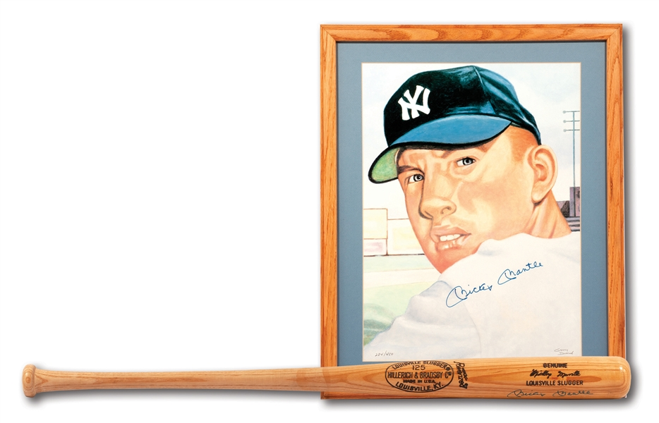 MICKEY MANTLE AUTOGRAPHED LOUISVILLE SLUGGER BAT AND SIGNED 1953 TOPPS GERRY DVORAK LITHOGRAPH