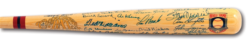 HALL OF FAMER MULTI-SIGNED COOPERSTOWN BAT WITH (50) MINT AUTOGRAPHS INCL. TED WILLIAMS, MAYS, AARON, MUSIAL, ETC.