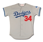 1983 FERNANDO VALENZUELA AUTOGRAPHED LOS ANGELES DODGERS GAME WORN ROAD JERSEY W/ 25TH ANNIV. PATCH (MEARS A10)