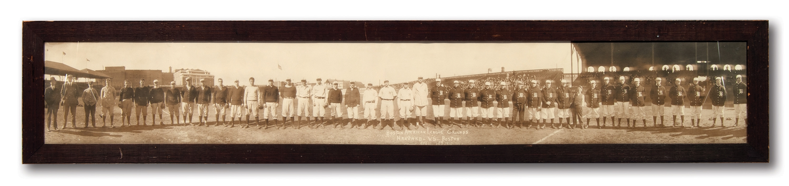 APRIL 14, 1910 BOSTON RED SOX VS. HARVARD PANORAMIC PHOTOGRAPH AT BOSTON AMERICAN LEAGUE GROUNDS