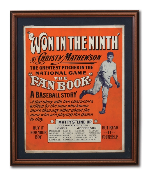 "1910 CHRISTY MATHEWSON ""WON IN THE NINTH"" CARDBOARD ADVERTISING DISPLAY"