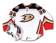 2017-18 JOHN GIBSON ANAHEIM DUCKS GAME WORN HOME JERSEY AND GAME USED GOALIE GLOVE (SIGNED)