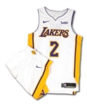 2017-18 LONZO BALL LOS ANGELES LAKERS (ROOKIE SEASON) GAME WORN HOME WHITE UNIFORM
