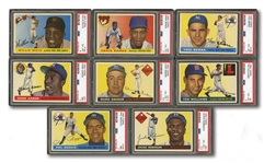 1955 TOPPS LOT OF (8) PSA GRADED HALL OF FAMERS INCL. #47 AARON (NM 7) AND #194 MAYS (EX-MT 6)