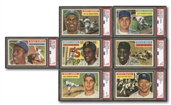 1956 TOPPS LOT OF (7) PSA GRADED HALL OF FAMERS INCL. #135 MANTLE (EX 5) AND #130 MAYS (NM 7)