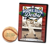 "DEC. 1959 ""HOME RUN DERBY"" (TV SERIES) FIRST EPISODE USED BASEBALL SIGNED BY MICKEY MANTLE, WILLIE MAYS & UMPIRE ART PASSARELLA (EXCELLENT PROVENANCE)"