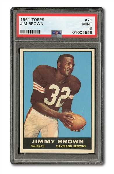 1961 TOPPS JIM BROWN PSA MINT 9 (JUST ONE HIGHER)