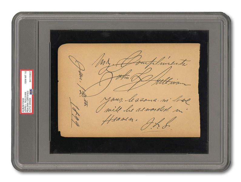 1899 JOHN L. SULLIVAN IMMACULATELY HANDWRITTEN AND SIGNED ALBUM PAGE (PSA/DNA GEM MINT 10)
