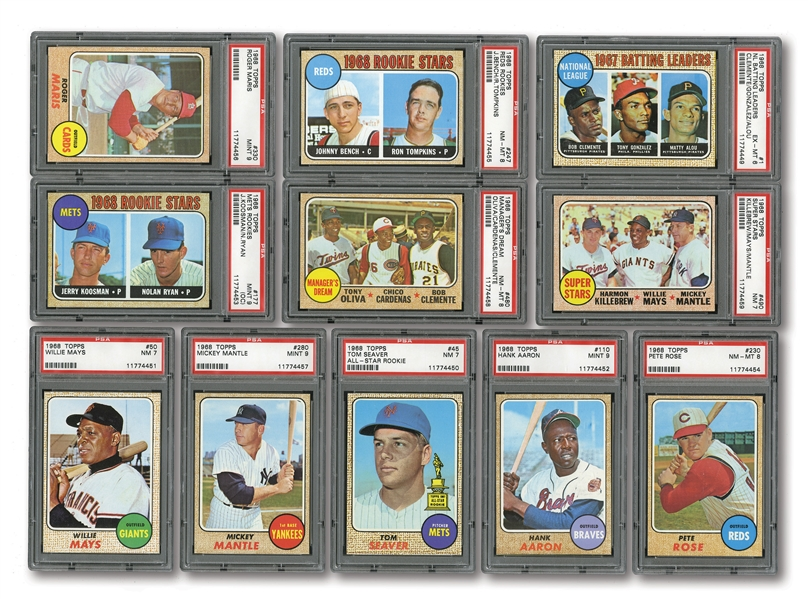 HIGH-GRADE 1968 TOPPS BASEBALL COMPLETE SET OF (598) WITH 11 PSA GRADED NOTABLES INCL.#280 MANTLE PSA MINT 9