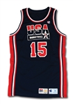 "1992 MAGIC JOHNSON USA BASKETBALL OLYMPIC ""DREAM TEAM"" GAME WORN JERSEY FROM QUARTERFINALS VS. PUERTO RICO - THE ONLY KNOWN PHOTO-MATCHED DREAM TEAM JERSEY! (RESOLUTION LOA, HOLLYWOOD AGENT SOURCE)"