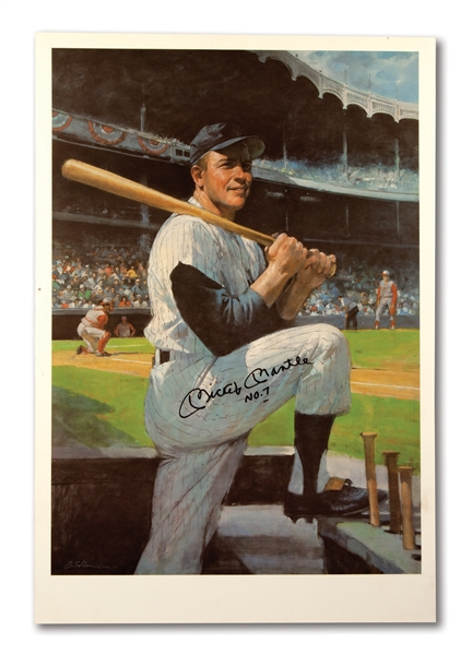 MICKEY MANTLE SIGNED & INSCRIBED LARGE FORMAT BURT SILVERMAN PRINT - MANTLES PERSONAL COPY FROM HIS RESTAURANT (GREER JOHNSON COLLECTION)