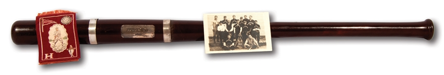 JUNE 18, 1908 HARVARD UNIVERSITY BASEBALL CLUB TROPHY BAT AWARDED TO HARVARD 3RD BASEMAN & TEAM CAPTAIN CHARLES REGINALD LEONARD