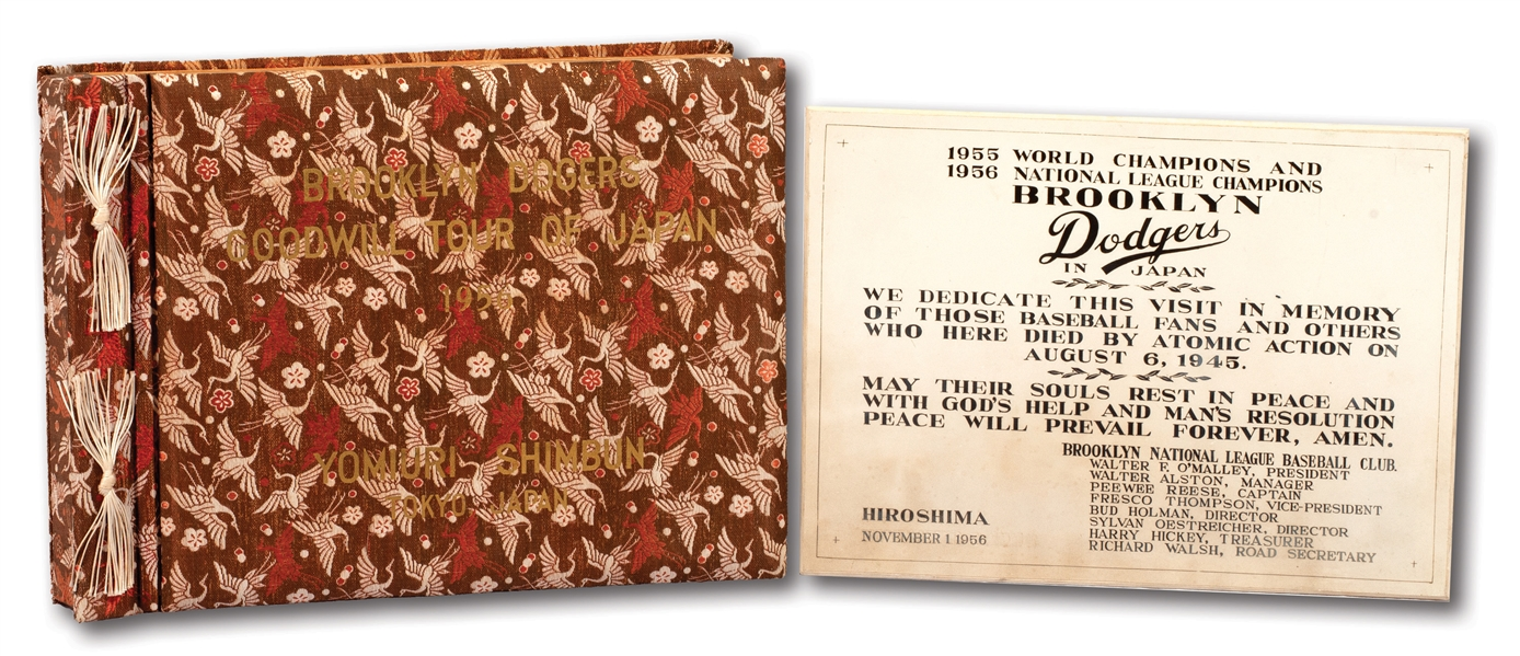 1956 BROOKLYN DODGERS TOUR OF JAPAN OFFICIAL TEAM PHOTO ALBUM AND HIROSHIMA IN MEMORIAM PLAQUE