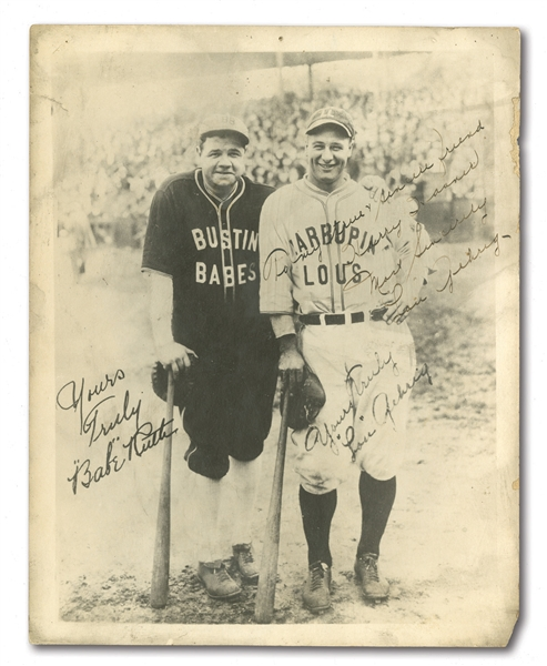 LOU GEHRIG SIGNED & INSCRIBED 1927 BUSTIN BABES VS. LARRUPIN LOUS BARNSTORMING 8x10 PHOTO