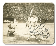 "BABE RUTH SIGNED 1934 TOUR OF JAPAN ORIGINAL (8.75"" BY 10.5"") PHOTOGRAPH DATED & INSCRIBED TO HIS ""HAM & CABBAGE PAL"" (PSA/DNA MINT 9)"