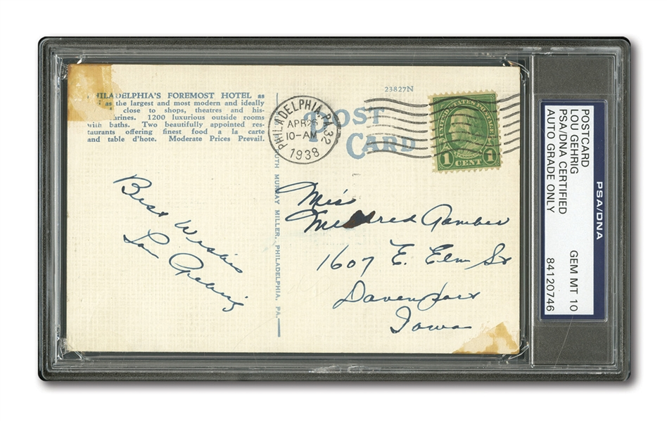1938 LOU GEHRIG PERFECTLY AUTOGRAPHED AND INSCRIBED POSTCARD (PSA/DNA GEM MINT 10)