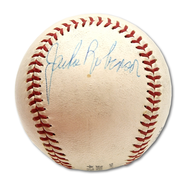 JACKIE ROBINSON SINGLE SIGNED ONL (FEENEY) BASEBALL - PSA/DNA 8 AUTO. (OVERALL 7)