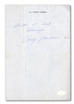 CURLY LAMBEAU SIGNED AND INSCRIBED PERSONAL LETTERHEAD PAGE - SUPER RARE!