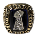 1986 NEW YORK GIANTS SUPER BOWL XXI CHAMPIONS 10K GOLD RING ISSUED TO TRAINER JOHN DZIEGIEL IN ORIGINAL PRESENTATION BOX