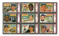 1956 TOPPS COMPLETE SET OF (342) RANKED #21 ON PSA REGISTRY WITH 8.015 SET RATING - ALL CARDS GRADED PSA NM-MT 8 OR BETTER!