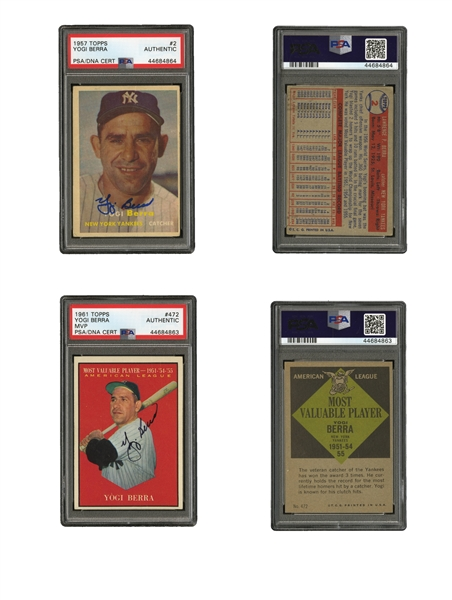 1948-65 YOGI BERRA BOWMAN AND TOPPS COLLECTION OF (26) CARDS INCL. TWO AUTOGRAPHED (PSA/DNA AUTHENTIC)