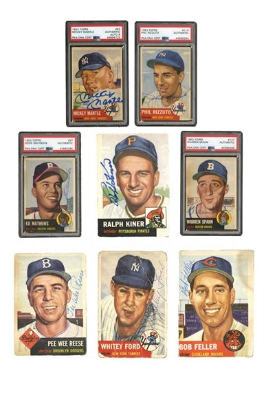 1953 TOPPS BASEBALL AUTOGRAPHED PARTIAL SET (146/274) WITH #53 MANTLE PSA/DNA 8 AUTO.