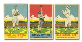 1933 DeLONG BASEBALL TRIO OF CHUCK KLEIN, LEFTY ODOUL & JIMMY DYKES