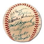 1952 NEW YORK YANKEES WORLD CHAMPIONS TEAM SIGNED OAL (HARRIDGE) BASEBALL WITH MICKEY MANTLE - PSA/DNA 8 AUTO. (RAY SCARBOROUGH COLLECTION)