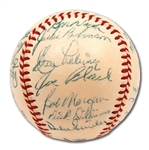 1952 BROOKLYN DODGERS N.L. CHAMPION TEAM SIGNED ONL (GILES) BASEBALL WITH JACKIE & CAMPY - PSA/DNA 8 OVERALL (RAY SCARBOROUGH COLLECTION)