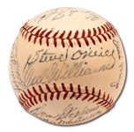 1951 BOSTON RED SOX TEAM SIGNED OAL (HARRIDGE) BASEBALL FROM RAY SCARBOROUGH COLLECTION