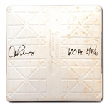 8/4/2010 ALEX RODRIGUEZ SIGNED & INSCRIBED FIRST BASE BAG USED DURING HIS 600TH CAREER HOME RUN GAME (A-ROD LOA, MLB AUTH.)