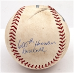 8/4/2010 ALEX RODRIGUEZ SIGNED & INSCRIBED 600TH CAREER HOME RUN BASEBALL (A-ROD LOA, MLB AUTH.)
