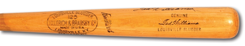 1955-59 TED WILLIAMS AUTOGRAPHED HILLERICH & BRADSBY PROFESSIONAL MODEL W183 GAME ISSUED BAT (PSA/DNA TAUBE LOA)