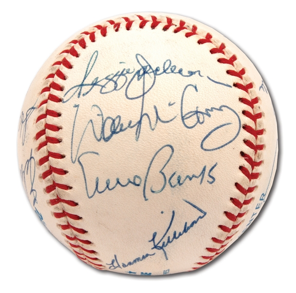 500 HOME RUN CLUB MULTI-SIGNED BASEBALL (11 AUTOS.) WITH MANTLE, WILLIAMS, MAYS, ETC. (PSA/DNA MINT 9 OVERALL)