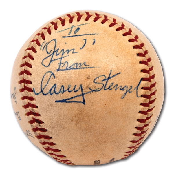 "1958 WORLD SERIES (YANKEES/BRAVES) ""FIRST BALL THROWN OUT"" SIGNED BY MANAGERS FRED HANEY AND CASEY STENGEL"